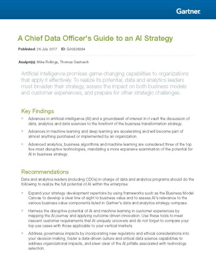 Chief Data Officers Guide to Artificial Intelligence