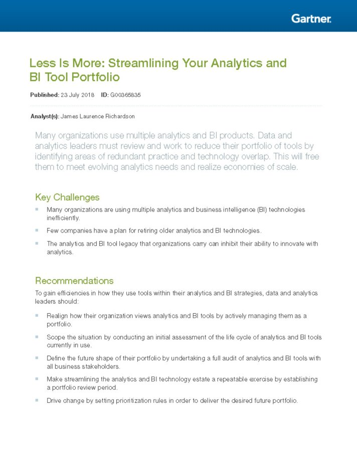 Less Is More: Streamlining Your Analytics and BI Tool Portfolio