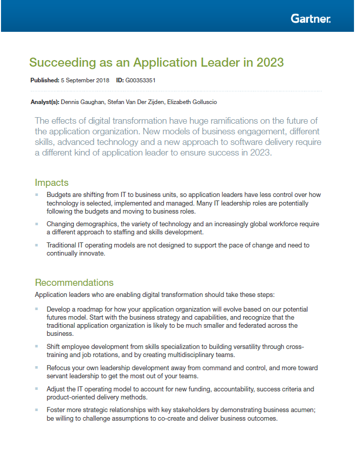 Succeeding as an Application Leader in 2023