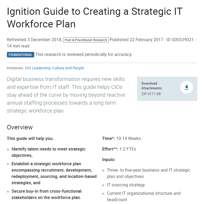 Ignition Guide to Creating a Strategic IT Workforce Plan.