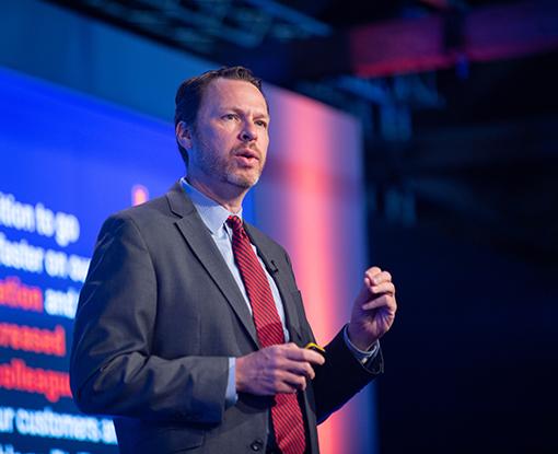 Brian Kropp speaking at ReimagineHR 2018 in Orlando, FL.