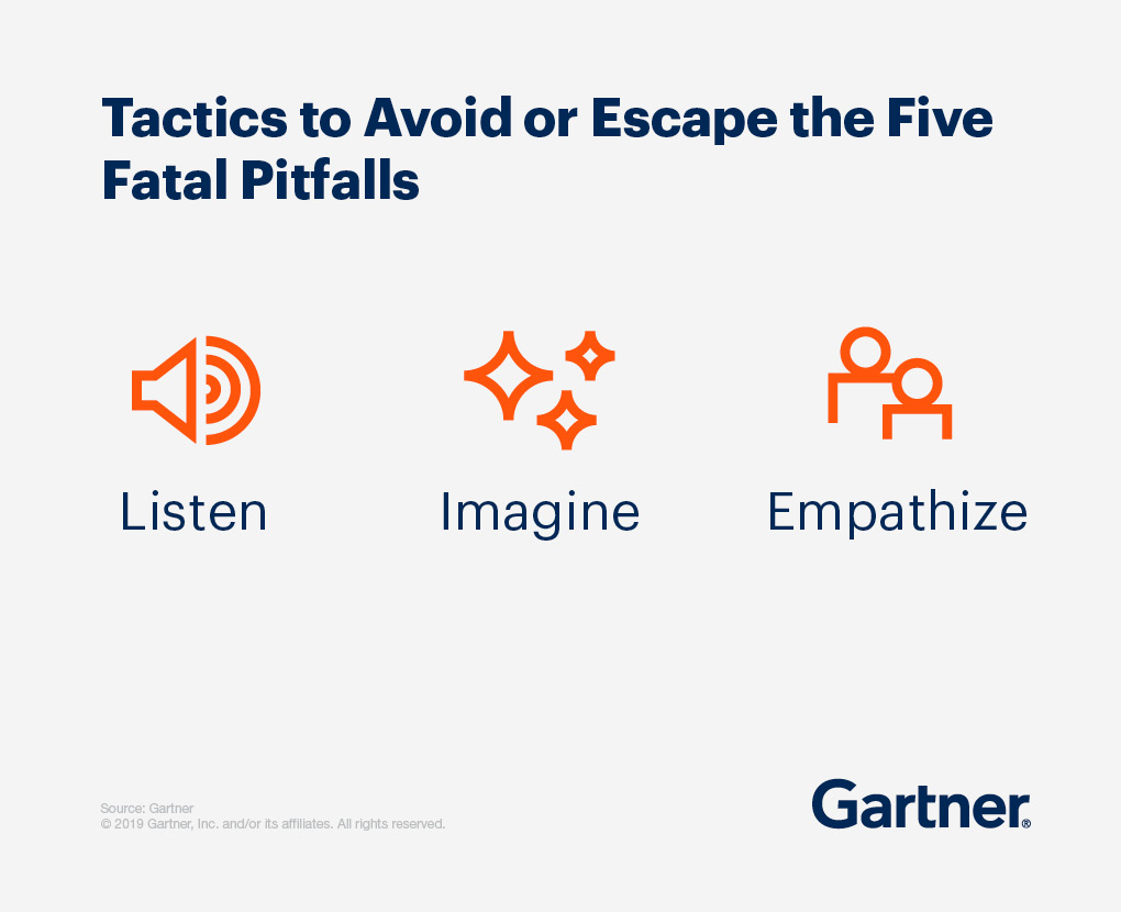 Tactics to avoid or escape the five fatal pitfalls: Listen, imagine, empathize.