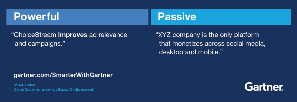 """Example of powerful versus passive language. Powerful: """"ChoiceStream improves ad relevance and campaigns."""" Passive: """"XYZ company is the only platform that monetizes across social media, desktop and mobile."""""""