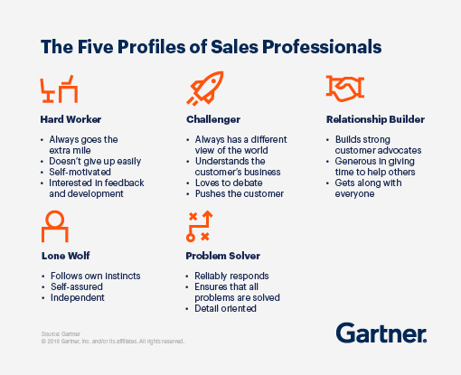 The five profiles of sales professionals are Hard Worker, Challenger, Relationship Builder, Lone Wolf and Problem Solver.